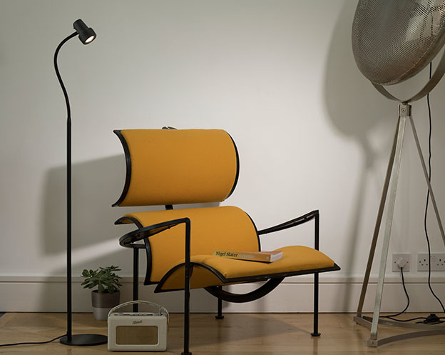 Classic Floor Reading Light - Yellow Chair
