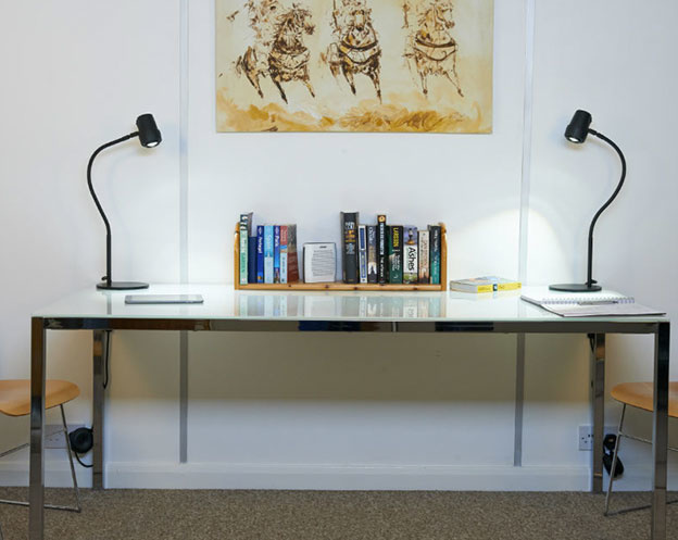 Alex Varifocus Table Reading Lights - On Desk